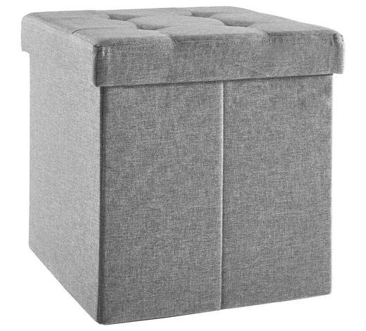 SEDACÍ BOX, linon, netkaná textilie,  - antracitová, Basics, kompozitní dřevo/textil (38/38/38cm) - Carryhome