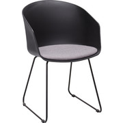 STUHL in Kunststoff, Textil Grau, Schwarz - Schwarz/Grau, Design, Kunststoff/Textil (51/81/51,5cm) - Carryhome