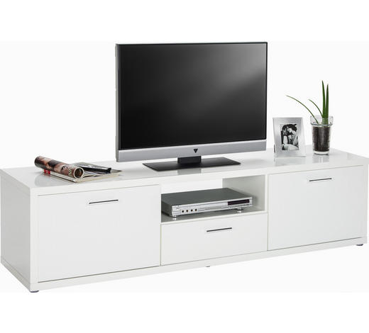 LOWBOARD Hochglanz, lackiert Weiß  - Chromfarben/Weiß, Design, Kunststoff (180/47/45cm) - Carryhome