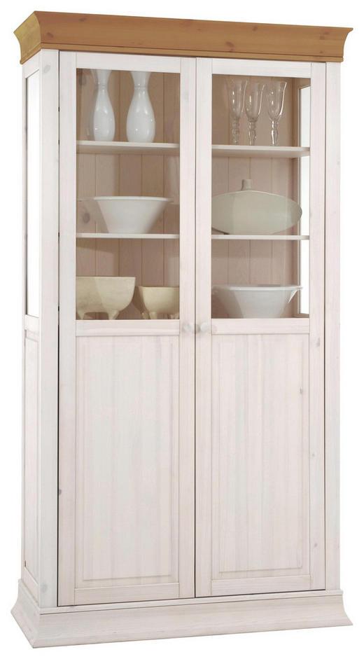 VITRINE Kiefer massiv Kieferfarben, Weiß - Weiß/Kieferfarben, Design, Holz (110/210/45cm) - CARRYHOME