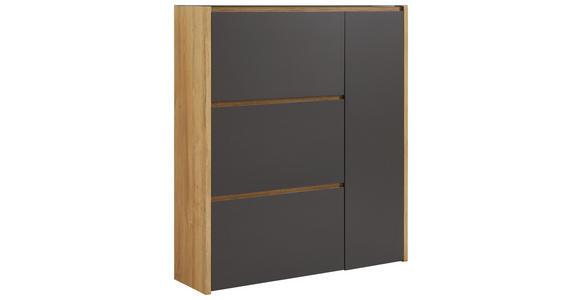 SCHUHSCHRANK 99,7/113,7/28 cm - Eichefarben/Anthrazit, Design, Glas/Holzwerkstoff (99,7/113,7/28cm) - Voleo