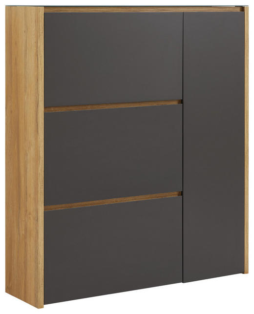 SCHUHSCHRANK Hochglanz, lackiert Anthrazit, Eichefarben - Eichefarben/Anthrazit, Design, Glas/Holzwerkstoff (99,7/113,7/28cm) - Voleo