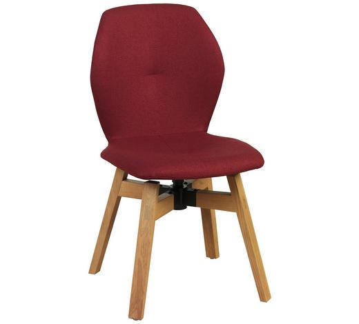 STUHL in Holz, Textil Eichefarben, Bordeaux - Eichefarben/Bordeaux, Design, Holz/Textil (47/87/58cm) - Lomoco