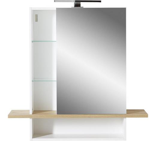 SPIEGELSCHRANK 90/91/25 cm - Eichefarben/Weiß, Design, Glas/Holzwerkstoff (90/91/25cm) - Xora