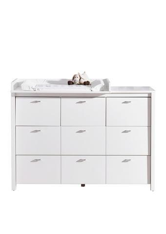 PREVIJALNA KOMODA JULIA - aluminij/bela, Trend, kovina/leseni material (135/95/50cm) - My Baby Lou