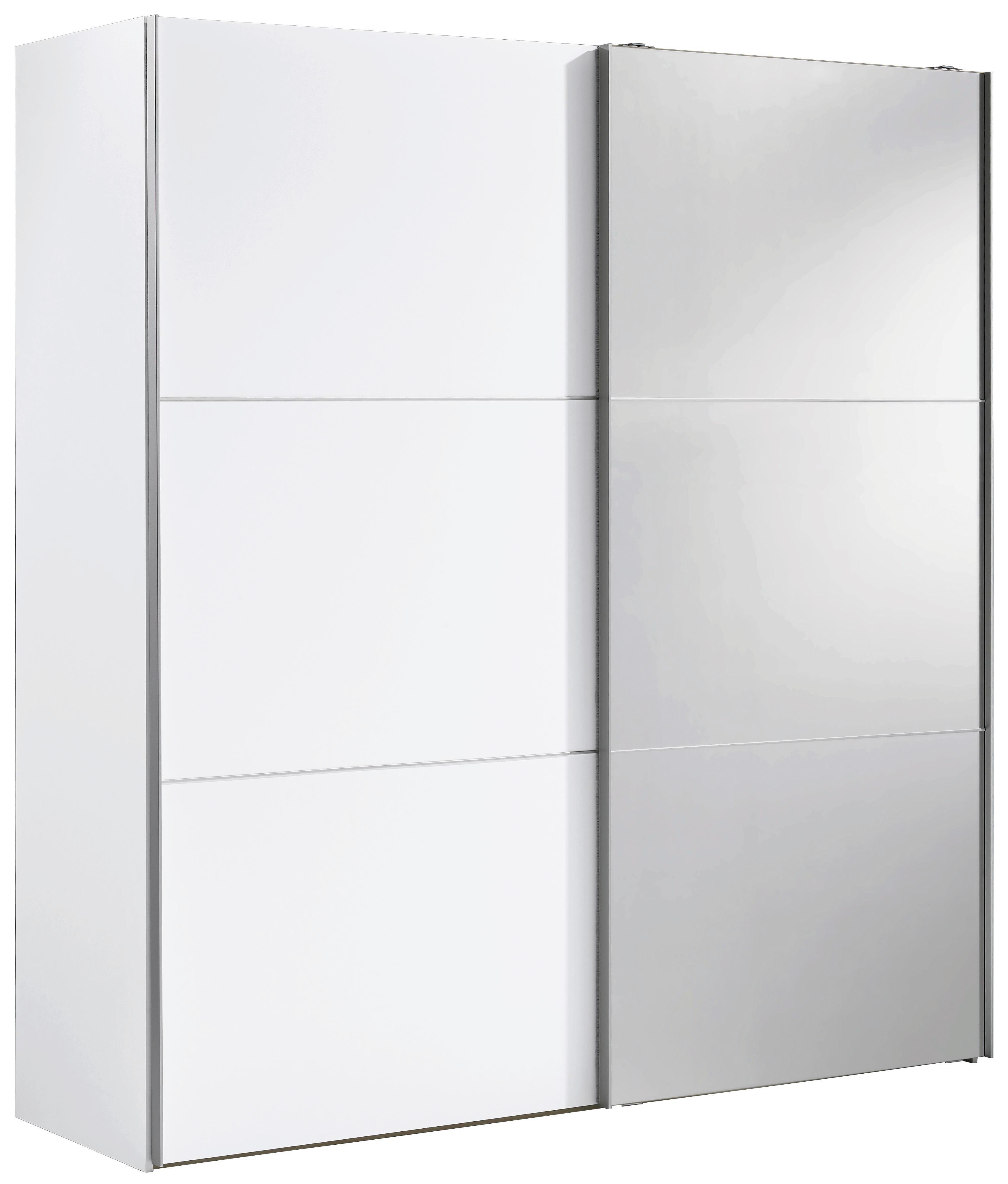 Wunderschön Schwebetürenschrank 140 Cm Breit Foto Von SchwebetÜrenschrank 2-türig Weiß - Alufarben/weiß, Design, Glas/holzwerkstoff
