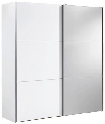 SCHWEBETÜRENSCHRANK 2  -türig Weiß - Alufarben/Weiß, Design, Glas/Holzwerkstoff (200/216/68cm) - CARRYHOME