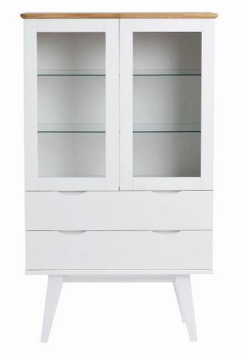 VITRINSKÅP - vit/ekfärgad, Klassisk, glas/trä (122/85/40cm) - Rowico