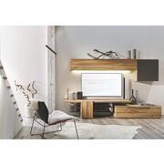 WOHNWAND Altholz, Eiche mehrschichtige Massivholzplatte (Tischlerplatte) Anthrazit, Eichefarben  - Eichefarben/Anthrazit, Design, Glas/Holz (272/168,4/56,7cm) - Voglauer
