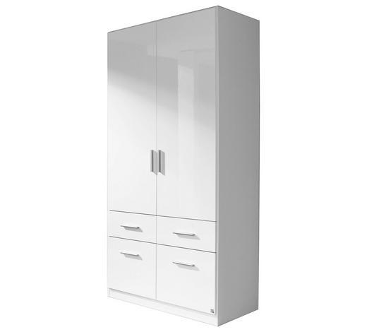 KLEIDERSCHRANK 2-türig Weiß  - Alufarben/Weiß, Design, Kunststoff (91/197/54cm) - Carryhome
