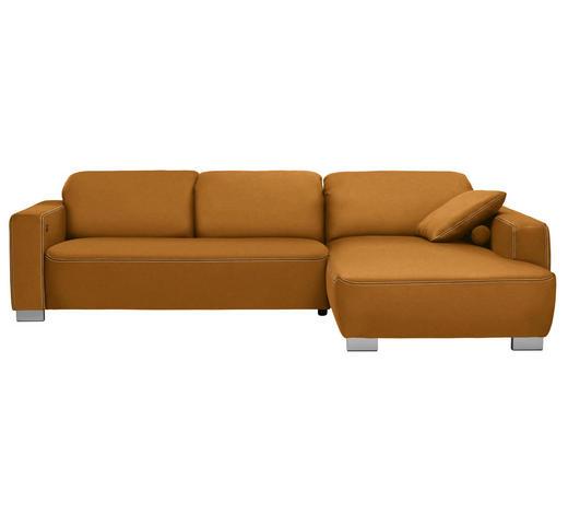 WOHNLANDSCHAFT in Textil Orange  - Chromfarben/Orange, Design, Holz/Textil (296/195cm) - Hom`in