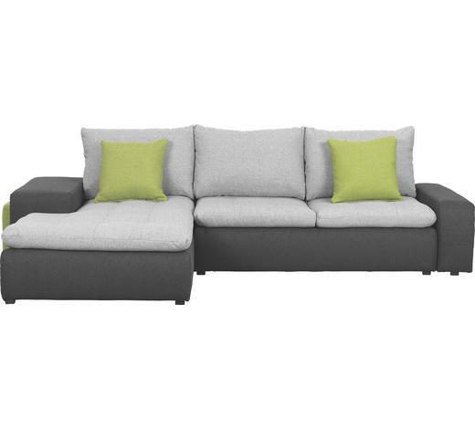 WOHNLANDSCHAFT Anthrazit, Grau, Grün Webstoff - Anthrazit/Schwarz, Design, Kunststoff/Textil (185/285cm) - Carryhome