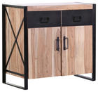 KOMMODE Akazie massiv Naturfarben, Schwarz - Schwarz/Naturfarben, Design, Holz/Metall (100/90/40cm)