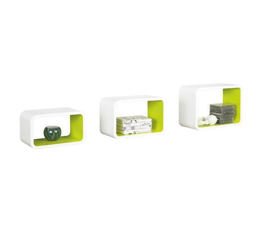 SADA NÁSTĚNNÝCH REGÁLŮ, zelená, bílá,  - bílá/zelená, Design, kompozitní dřevo (45/30/20cm) - Boxxx