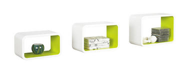 WANDREGALSET Grün, Weiß  - Weiß/Grün, Design (45/30/20cm) - Xora