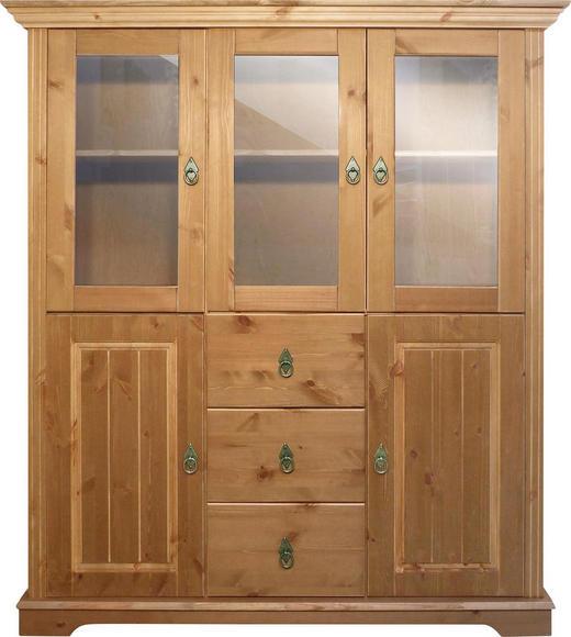 HIGHBOARD Kiefer massiv geölt Honig - Messingfarben/Honig, LIFESTYLE, Glas/Holz (128/146/37,5cm) - Landscape