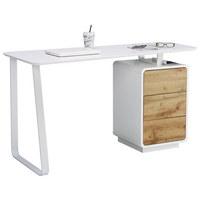 PISALNA MIZA kovina, leseni material bela, hrast  - hrast/bela, Design, kovina/leseni material (140/76/60cm) - Xora