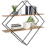 REGÁL NÁSTĚNNÝ, barvy akácie, tmavě šedá - tmavě šedá/barvy akácie, Trend, kov/dřevo (107/107/26cm) - Ambia Home