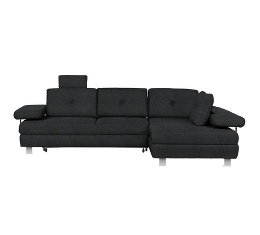 WOHNLANDSCHAFT in Textil Anthrazit - Chromfarben/Anthrazit, Design, Textil/Metall (288/190cm) - Hom`in