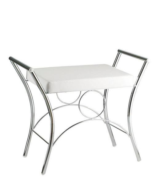 BADHOCKER - Chromfarben/Weiß, Basics, Textil/Metall (60/54/35cm)