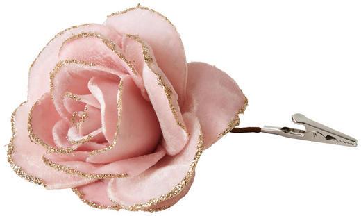 Rose mit Clip - Rosa, Trend, Textil/Metall (13/13/3cm)