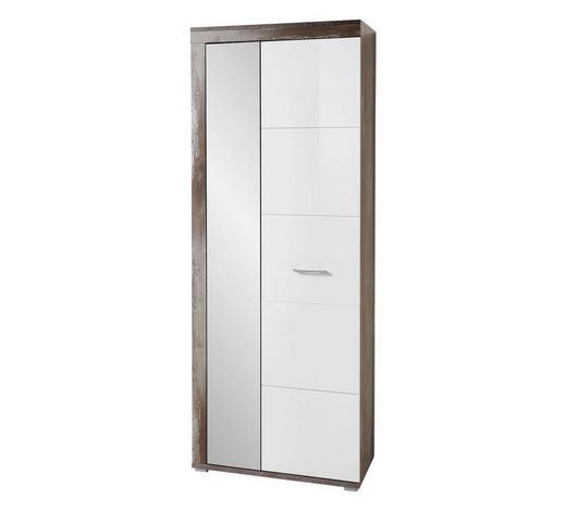 GARDEROBENSCHRANK 77/202/38 cm - Chromfarben/Weiß, LIFESTYLE, Glas/Holzwerkstoff (77/202/38cm) - Hom`in