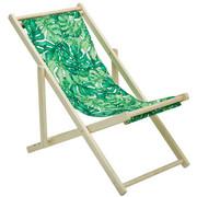 STRANDSTUHL Pappel massiv - Naturfarben/Grün, KONVENTIONELL, Holz/Textil (57/69-87/102cm) - Ambia Garden