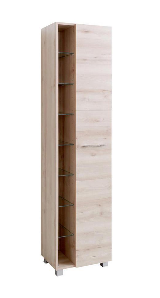 SEITENSCHRANK Buchefarben - Chromfarben/Buchefarben, Design, Holzwerkstoff/Kunststoff (45/185/35cm) - Carryhome