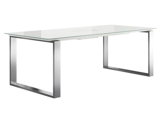 ESSTISCH rechteckig Edelstahlfarben, Weiß - Edelstahlfarben/Weiß, Design, Glas/Metall (220/100/75cm) - Now by Hülsta