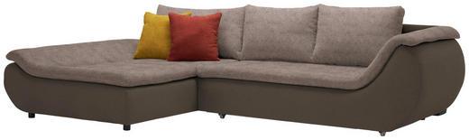 WOHNLANDSCHAFT in Textil Braun, Dunkelbraun - Dunkelbraun/Schwarz, Design, Kunststoff/Textil (185/310/cm) - Carryhome