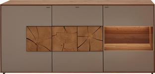 SIDEBOARD Kerneiche vollmassiv matt, lackiert, gebürstet, gewachst - Fango/Eichefarben, Design, Glas/Holz (175/81/49cm) - Valnatura