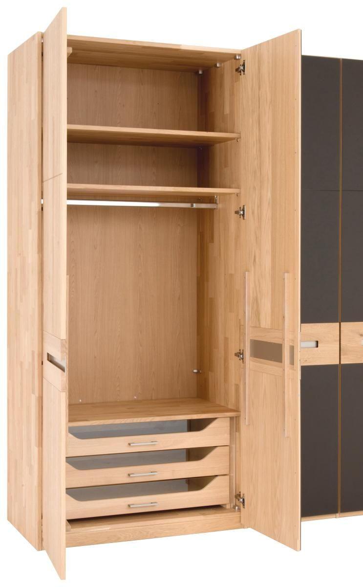 KLEIDERSCHRANK 5  -türig Eiche massiv Dunkelbraun, Eichefarben - Eichefarben/Dunkelbraun, Design, Glas/Holz (253,2/224,8/62cm) - NOVEL
