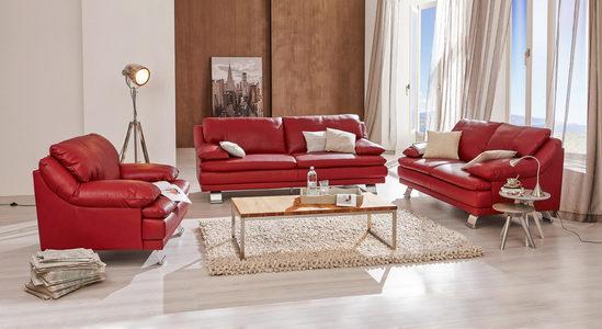TROSED - Boja aluminijuma/Crvena, Konvencionalno, Koža (220/87/94cm) - Celina Home