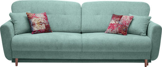 DREISITZER-SOFA Webstoff Blau, Grün - Blau/Multicolor, Design, Holz/Textil (235/87/98cm) - Hom`in