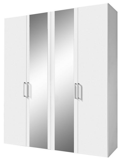 DREHTÜRENSCHRANK 4-türig Weiß - Alufarben/Weiß, Design, Glas/Holzwerkstoff (200/236/58cm) - Hom`in