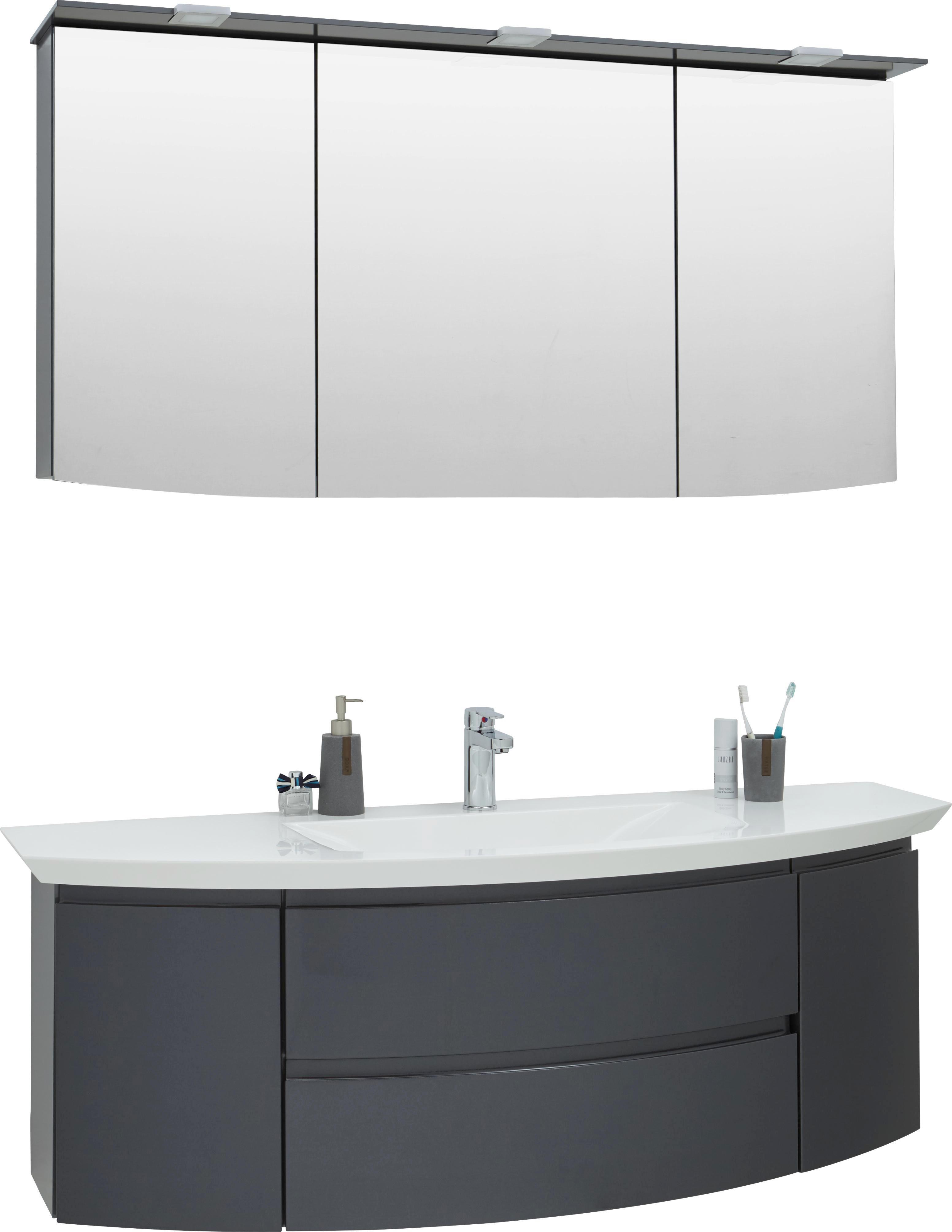 BADEZIMMER Anthrazit, Weiß   Anthrazit/Weiß, Design, Glas/Stein (149cm