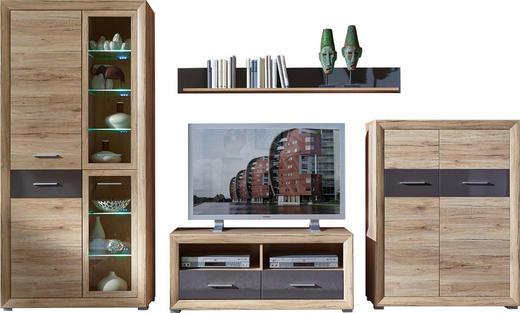 WOHNWAND Eichefarben, Graphitfarben - Eichefarben/Silberfarben, Design, Glas/Holzwerkstoff (300/197/45cm) - CARRYHOME