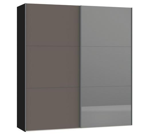 SCHWEBETÜRENSCHRANK in Grau, Schwarz  - Silberfarben/Schwarz, Design, Glas/Holzwerkstoff (202,5/220/46cm) - Jutzler
