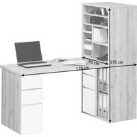 MINI OFFICE  bela, bukev - bukev/bela, Konvencionalno, steklo/leseni material (65/150/170cm) - NOVEL