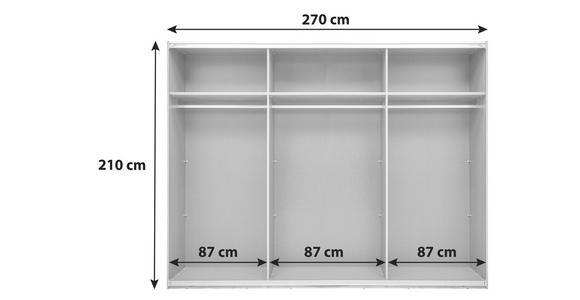 Schiebetürenschrank 270cm Alicante, Alpinlook/Betonoxid - Fichtefarben/Grau, MODERN, Holzwerkstoff (270/210/60cm) - Luca Bessoni
