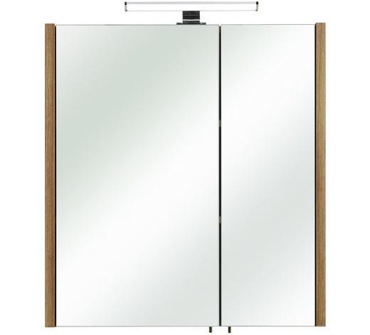 SKŘÍŇKA SE ZRCADLEM, barvy dubu - barvy dubu, Konvenční, kompozitní dřevo/sklo (62/70/20cm) - Xora
