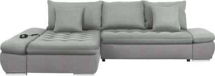 WOHNLANDSCHAFT in Textil Hellgrau - Chromfarben/Hellgrau, Design, Textil/Metall (200/309cm) - Hom`in