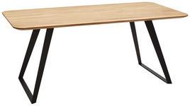 ESSTISCH in Holz, Metall 180/90/76 cm - Eichefarben/Schwarz, Design, Holz/Metall (180/90/76cm) - Voleo