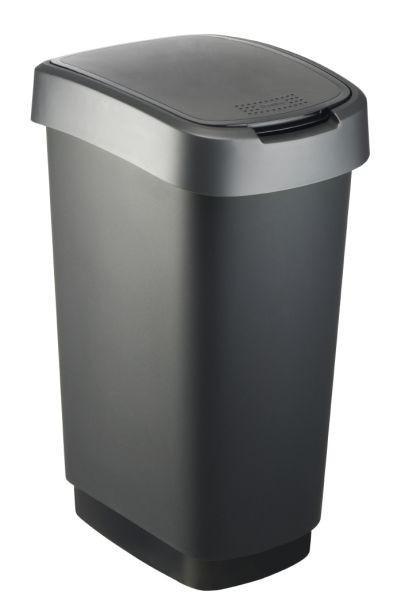 ABFALLEIMER 50 L - Dunkelgrau/Schwarz, Basics, Kunststoff (40,1/29,8/60,2cm) - Rotho