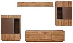 WOHNWAND Asteiche furniert Eichefarben, Kupferfarben  - Eichefarben/Alufarben, KONVENTIONELL, Glas/Holz (346/210/55cm) - Voleo