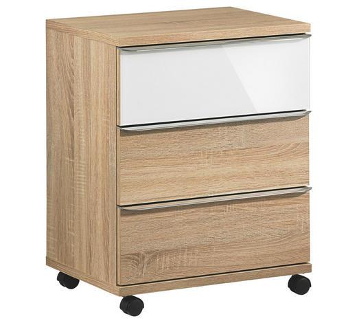 ROLLCONTAINER - Chromfarben/Weiß, Design, Glas/Holzwerkstoff (51/65/40cm) - Moderano