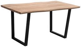 ESSTISCH in Metall, Holzwerkstoff 160/90/76 cm   - Eichefarben/Schwarz, Design, Holzwerkstoff/Metall (160/90/76cm) - Carryhome