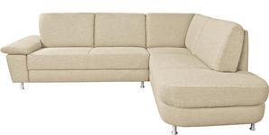 WOHNLANDSCHAFT Beige - Beige/Alufarben, Design, Textil/Metall (262/212cm) - Venda