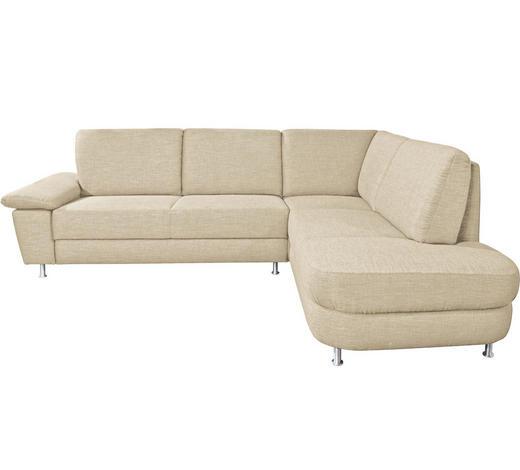 WOHNLANDSCHAFT in Textil Beige  - Beige/Alufarben, KONVENTIONELL, Textil/Metall (262/212cm) - Ada Austria