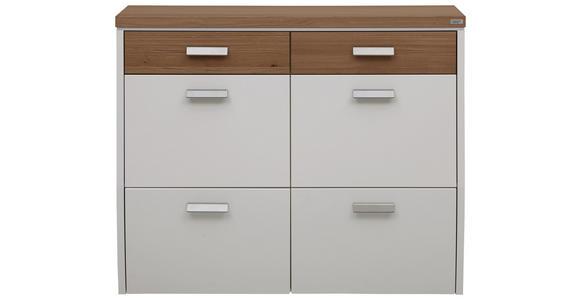SCHUHSCHRANK 121/95/31 cm  - Eichefarben/Silberfarben, Design, Holz/Holzwerkstoff (121/95/31cm) - Dieter Knoll